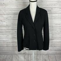 Eileen Fisher Womens Blazer Jacket Size Xs Black 3 Button Viscose Blend Pockets Photo