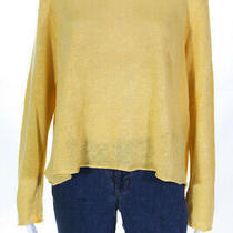 Eileen Fisher  Womens Linen Long Sleeve Sweater Yellow Size Extra Large Photo