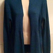 Eileen Fisher Wool Open Front Duster Cardigan Dark Teal Blue Sweater Medium Photo