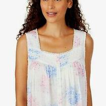 Eileen West Pink/blue Floral Swiss Dot Sleeveless Cotton Lawn Ballet Nightgown M Photo