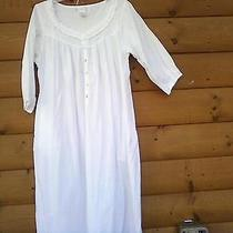 Eileen West Solid White Cotton Nightgown Medium M Large Photo