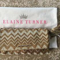 Elaine Turner Metallic Chevron Gold Color Clutch Excellent Condition  Photo