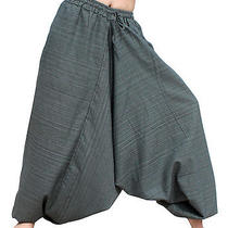 Elastic Pullstring Waist and Ankles Aladdin Baggy Mao Pants in Payne's Gray Sz M Photo
