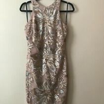 Elegant Alexia Admor Sequin Sheath Dress in Blush Rose Gold and Silver Photo