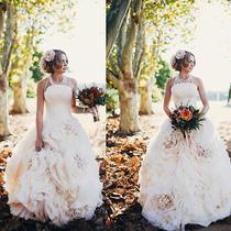 Elegant Blush Pink Princess Bridal Ball Gown Vintage Floral Wedding Dress Custom Photo