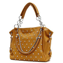 Elegant Braided Chain Strap Rhinestone Hobo Ladies Handbag Purse Fashion Tan Photo
