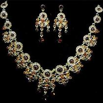 Elegant Bride Walnut Swarovski Necklace Earrings Set Photo