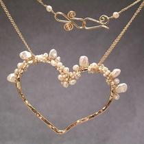 Elegant Handcrafted Heart Pendant With Keshi & Seed Pearls .925 Silver 14k Gf Photo