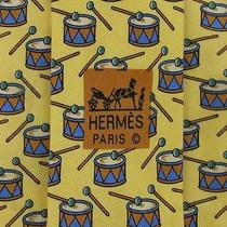 Elegant Mens Tie Hermes Paris Made in France Music Drums Yellow Blue Brn Necktie Photo