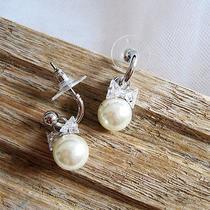 Elegant Pearl Earrings With Swarovski Accent Dangle Earringswedding Earrrings Photo
