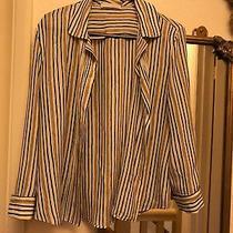 Elegant Prada Striped Brown Black Cream Silk Blouse Top Shirt Size It44 Uk12 Photo
