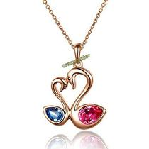 Elegant Swan Dazzling 18k Rose Gold Plated Crystal Necklace Pandent N1060 Photo