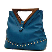 Elegant Triangle Carry Handles Fashion Hobo Handbag Puse New Women Blue Photo