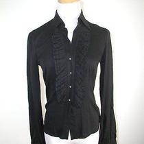 Elegant Trina Turk Black Silk Ruffle Front Rhinestone Buttons Shirt Blouse S Photo
