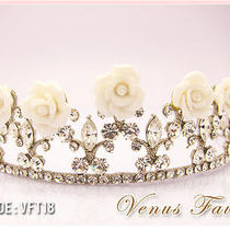 Elegant White Ceramic Floral Swarovski Crystal Bridal Wedding Tiara Crown  Photo