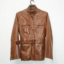 Element 90s Vintage Real Leather Brown Safari Jacket Belted Womens Size Uk 8 10 Photo