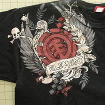 Element Black Men's Xl Tee Shirt Tatoo Skull and Bones Shot Sleeve Free Shipping Photo