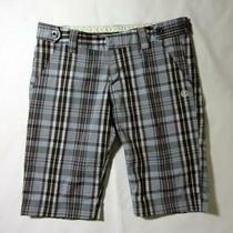 Element Black Plaid 1 Walking Shorts Bermuda Polyester Blend 29