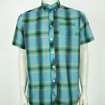 Element Blue Plaid Cotton Blend Skate Button Front Shirt Mens Large Photo