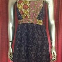 Element Boho Bohemian Abstract Dress Fans Size Medium Navy Short Stretchy Comfy  Photo