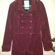 Element Coats Uk Burgandy Velvet Military Frock Coat Jacket 14 L Goth Steampunk Photo