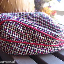 Element Crowns News Cap Visor Red Yellow White Plaid Hat Adjustable Size New Photo