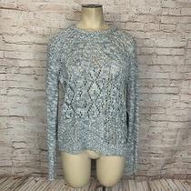 Element Eden Womens S Hoodie Hooded Sweater Heather Gray Open Knit Diamond Photo