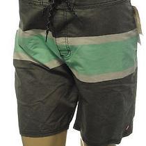 Element Gray Striped Swim Trunks Board Water Shorts Sz 38 Photo
