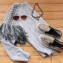 Element Grey Sweatshirt With Crochet and Fringe Size 10 Nwt Retail 90 Solid  Photo
