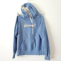 Element Hoodie Sweatshirt Blue Floral Drawstring Pocket Women Size Large Stretch Photo
