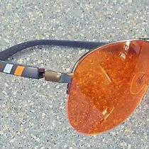 Element Lux Blue Vertical Stripe Designer Sunglasses Orange Amber Lens Photo