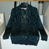 Element Marbled Blue Shawl Collar Open Front Cardigan Sweater Medium Nwot  Photo