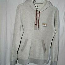 Element Men's Gray Pullover Button Up Neck Drawstring Hoodie With Front Pocket Photo