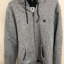 Element Mens Heather Gray Zip Up Fuzzy Warm Black Hoodie Jacket  - Size Large Photo
