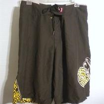 Element Mens Sz 32 Black Gold Geometric Polyester Racing Surf Swim Board Shorts Photo