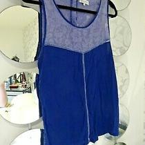 Element Navy Powder Blue Floral Lace Panel Button-Back Ladies Top Size L Uk 14 Photo