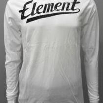 Element New Mens S White Cotton Graphic T-Shirt Tee Long Sleeve Logo Shirt cvi.1 Photo
