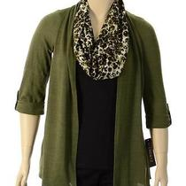 Element Olive Green Black 3/4 Sleeve 2 Fer Knit Blouse W/ Scarf Size M Retail44 Photo