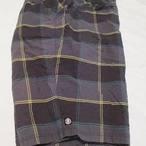 Element Plaid Shorts Gray Black Cotton Plain Front Mens Size 38 12