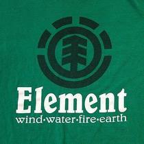 Element Skateboarding Green Medium T-Shirt Wind Water Fire Earth Photo