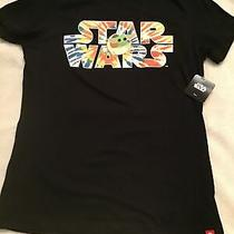 Element Star Wars Disney Baby Yoda Tie Dye Letters Sz S Black Fitted Tshirt Nwt Photo