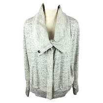 Element Sweatshirt Bomber Jacket Womens Medium Gray Cowl Neck Snap Up Lace Back Photo