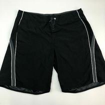 Element Swim Trunks Mens 40 Black Gray White Lace Tie Striped Pockets Swimwear Photo