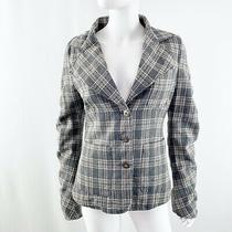 Element Women's Gray Plaid Blazer Jacket Wool Blend Size L Ruched Sleeves Photo