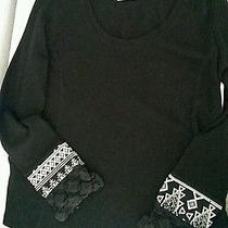 Element Womens Crocheted Cuffs Shirt-Med Black. Great Condition  Photo