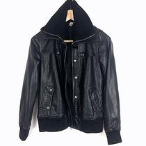 Element - Womens Faux Leather Zip Front Black Bomber Motorcycle Jacket - Size S Photo