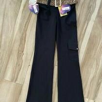 Element Womens Flare Pants Black Mid Rise Belted Flap Pocket Stretch L New Photo