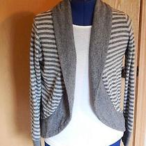 Element Womens Knit Cardigan Size Med Stripped Gray Sweater  Photo