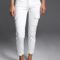 Element Womens Skinny Fit Slim Cargo Chino Crop Pants White 7 Photo