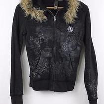 Element Wood & Thread Womens Solid Black Ls Full Zip Hooded Jacket Sz S Small Photo